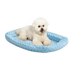 Midwest Quiet Time Fashion Pet Bed Powder Blue With Dog On Bed