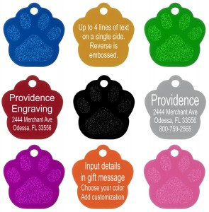 Pet ID Tags Various Colors Paw Shaped