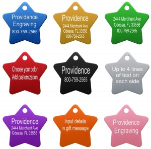 Pet ID Tags Various Colors Star Shaped