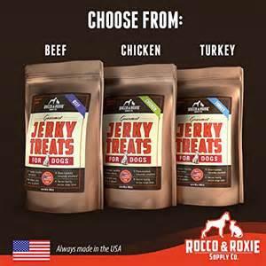 Rocco Roxie Jerky Dog Treats Three Flavors Shown