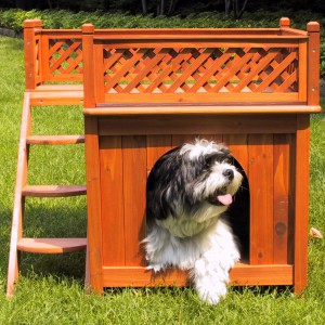 Merry Pet MPS002 Wood Dog House Outside With Dog