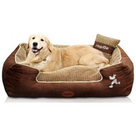 HappierGo Waterproof Orthopedic Large Dog Bed with Corn Pillow and Removable Cover