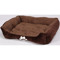 HappyCare Textiles Reversible Rectangle Pet Bed with Dog Paw Printing, Coffee