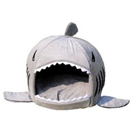 Colorfulhouse Shark Round House Puppy Bed with Pet Bed Mat, Small to Medium