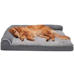 Furhaven L-Shaped Orthopedic Bolster Dog Bed