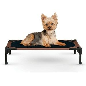 KH Pet Products Elevated Dog Bed Black-Tan